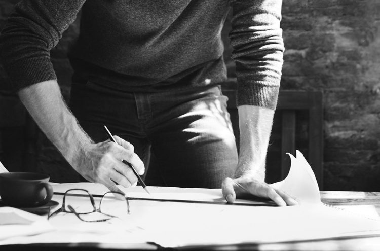 Architect working at desk